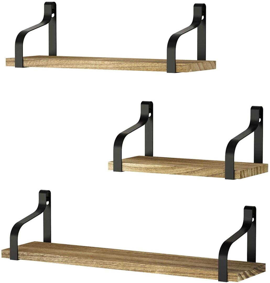 3 floating shelves wood & iron