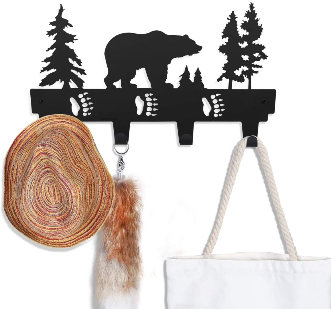 bear pattern coat hook wall mounted