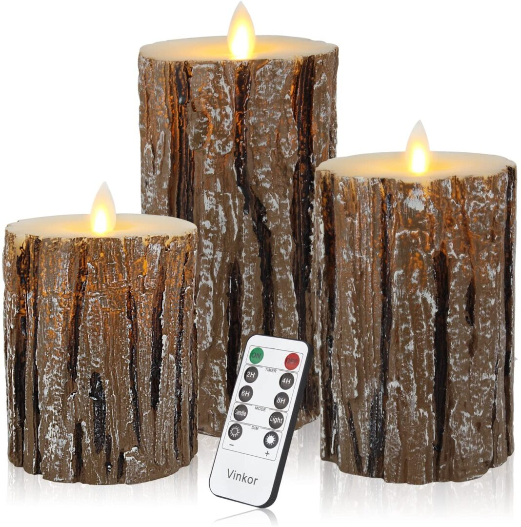flameless birch candles w:remote