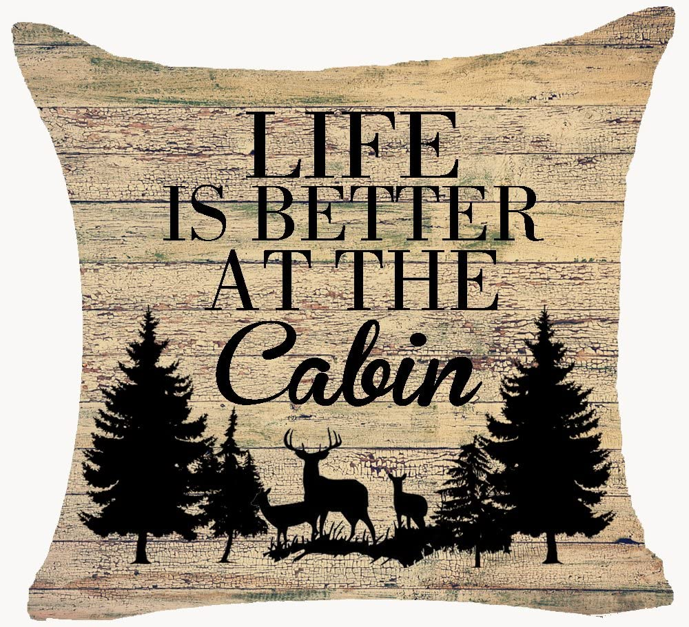 life is better at cabin deer pillow