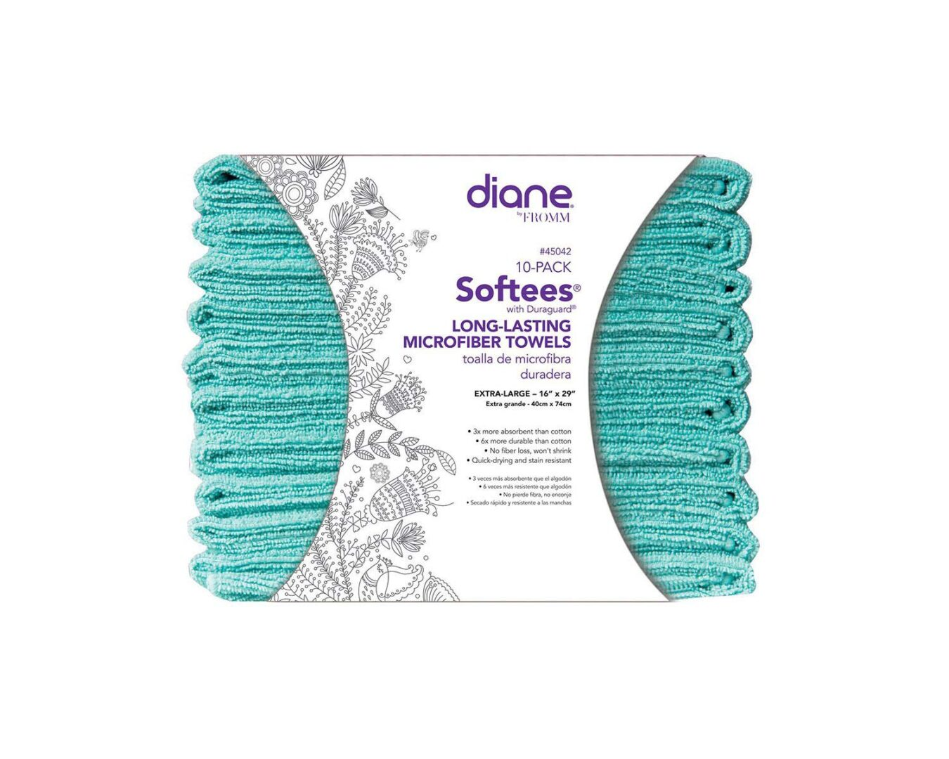 2021 Fromm Diane Softees Blue 10 count microfiber towels