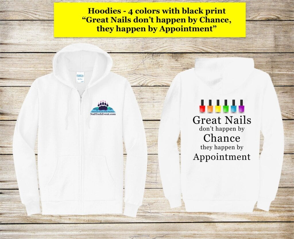Great nails hoodie white w:black ink WITH PRINT